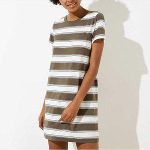 LOFT Striped Pocket Tee Beach Dress, L